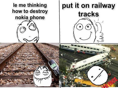 Train can't break nokia phone